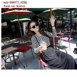 Đầm bầu Hàn Quốc maxi tay dài phối sọc sang trọng zzDB577
