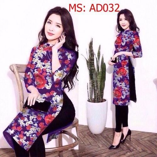 Ad032 áo dài cách tân in 3d nền xanh đen họa tiết hoa cúc