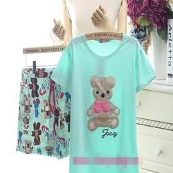 Đồ bộ mặc nhà hình chú gấu phối quần họa tiết xinh xắn NN432