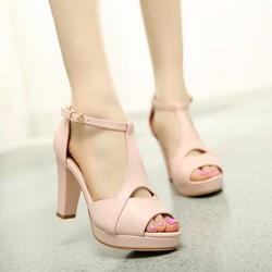 Giày cao gót nữ hở mũi cách điệu - LN129