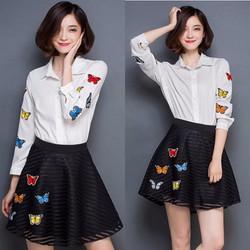 Set áo sơ mi chân váy ren họa tiết bướm xinh BD159 - HÀNG NHẬP Y HÌNH