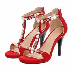 Giày Nữ Cao Gót Đính Ngọc Trai