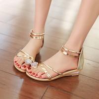 Sandal quai vàng đính đá