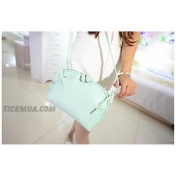 Túi đeo vân vuông màu sắc ngọt ngào Màu xanh_T2028G