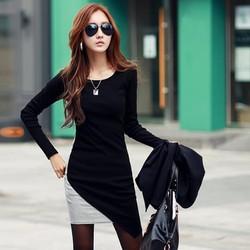 Đầm nữ dài tay cổ tròn, thiết kế mới đơn giản trẻ trung, thời thượng.