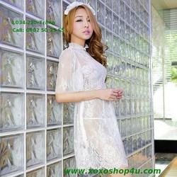 L034 Váy ren cao cấp cô dâu quyến rũ màu trắng