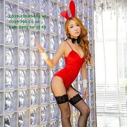 C019 Cosplay thỏ cúp ngực đệm mút vải nhung sang trọng màu đỏ