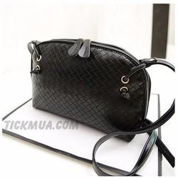 Túi đeo vân vuông màu sắc ngọt ngào Màu đen_T2028B