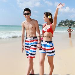 Quần cặp đôi đi biển sọc xanh đỏ