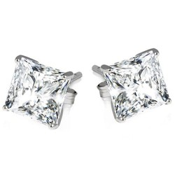 Hoa tai  2ct Sterling Silver Princess Cut Earrings