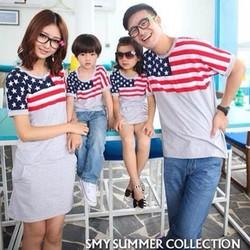 Set Áo váy gia đình màu xám phối hình lá cờ đang yêu HGS 173