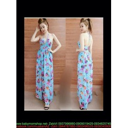 Đầm maxi cúp ngực thắt dây sành điệu họa tiết hoa xinh đẹp DDh304