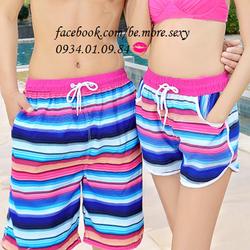 Quần cặp đôi đi biển sọc tím hồng