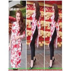 Sét áo dài cách tân dài tay hình hoa đỏ và quần dài sành điệu SQV110