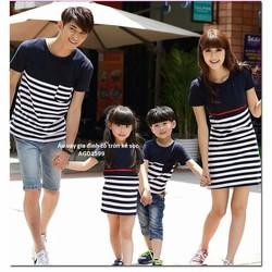 Sét áo váy gia đình xanh đen phối sọc HGS 171