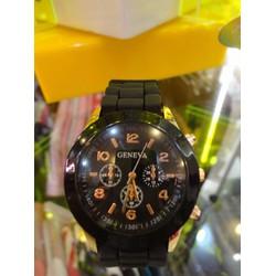 Đồng hồ nữ Geneva đen dây cao su