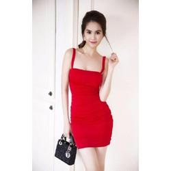 Đầm ôm body 2 dây đỏ Ngọc Trinh D465