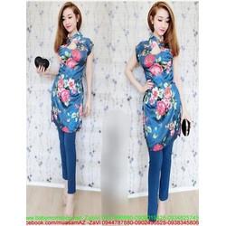 Áo dài nữ cách tân tay con hoa hồng xinh xắn nổi bật zzAD11
