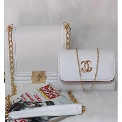 Set đôi túi xách nữ chanel màu trắng vân nhỏ - túi xách nữ giá rẻ
