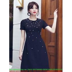 Đầm xòe tay con thiết kế đơn giản đính cườm và ngọc trai DXV201