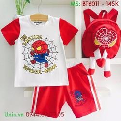 Đồ bộ bé trai - Set đồ bộ hình nhện và balo đáng yêu cho bé - BT6011