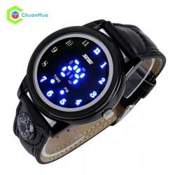 Đồng hồ Unisex Skmei 0921 Led la bàn dây da chống nước DHA277-D0955