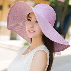 mũ cói rộng vành thắt nơ Hàn Quốc