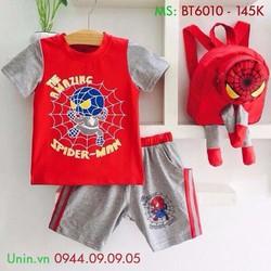 Đồ bộ bé trai - Set đồ bộ hình nhện và balo đáng yêu cho bé - BT6010
