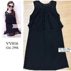 Đầm bầu voan rủ đen, trẻ trung, quyến rũ, sành điệu VV016