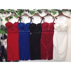 Set áo croptop chân váy body phối lưới kết ren hoa cao cấp