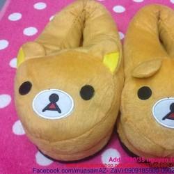 Dép bông thú mang trong nhà hình gấu pooh ôm chân ấm áp DTN74