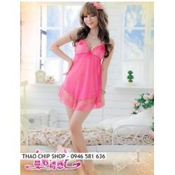 Đầm ngủ sexy màu hồng DN252