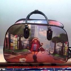 Túi du lịch cần kéo hình cô gái và chú cún dạo phố TXL6