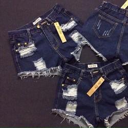 QNU011-Quần short jean rách truớc tua lai túi cào