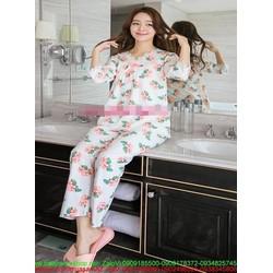 Đồ bộ mặc nhà pyjama hình hoa hồng xinh đẹp NN440  COTTON THÁI
