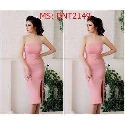 Đầm ôm body cúp ngực xẻ đùi màu hồng xinh xắn