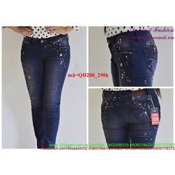 Quần jean nữ lưng cao 1 nút vẩn sơn nhẹ cá tính QD288