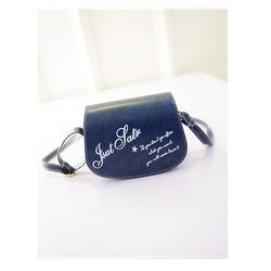 Túi xách nữ dạng hộp đeo chéo in chữ dễ thương màu xanh sậm