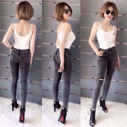 Quần jean lưng cao màu muối tiêu so hot QD291