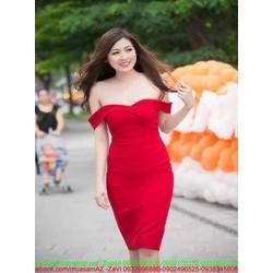 Đầm body cúp ngực rớt vai màu đỏ sang trọng DOV816