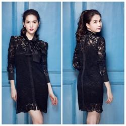 Đầm Ren Tay Dài Cột Nơ Giống Ngọc Trinh HÀNG CAO CẤP N420