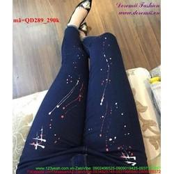 Quần jean nữ lưng cao 1 nút vẩn sơn phong cách QD289