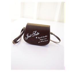 Túi xách nữ dạng hộp đeo chéo in chữ dễ thương màu nâu đen