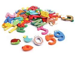 Bộ 26 chữ, 10số+ 5 dấu+12 sinh vật biển nam châm cho bé vui học
