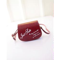Túi xách nữ dạng hộp đeo chéo in chữ dễ thương màu đỏ đô
