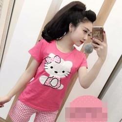 Đồ bộ mặc nhà hello kitty và quần short caro xì teen DBTN457