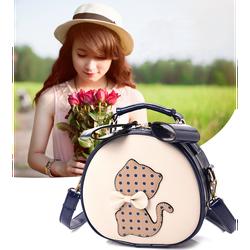 Túi xách nữ dáng tròn hình mèo đeo nơ siêu đáng yêu