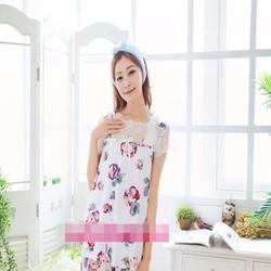Đồ bộ mặc nhà họa tiết hoa hồng phối ren xinh đẹp NN437