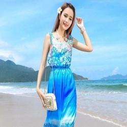 Đầm maxi biển sát nách màu xanh phối hoa xinh đẹp trẻ trung DDH295