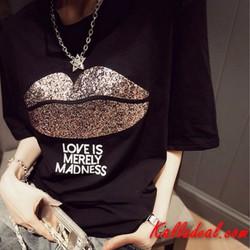 T-Shirt Tay Ngắn Hình Môi
